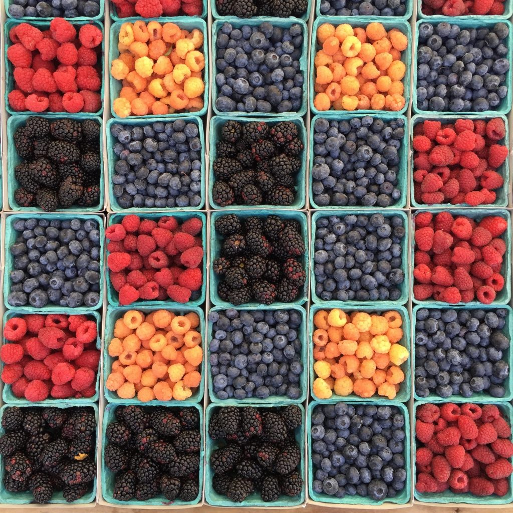 berries with different varities at the farmers market