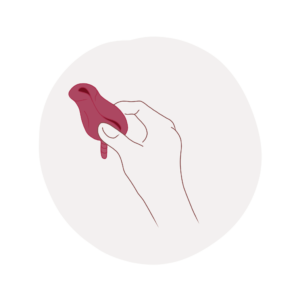 Pinch down method inserting a menstrual cup